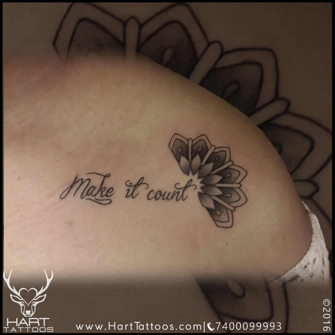 Shoulder Text Tattoo for girl with Mandala