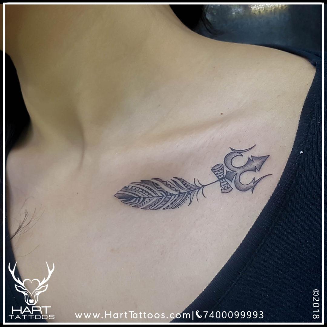 Trishul Tattoo|Collarbone Tattoo|Tattoo design for girls